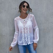 Button Front Guipure Lace Insert Top