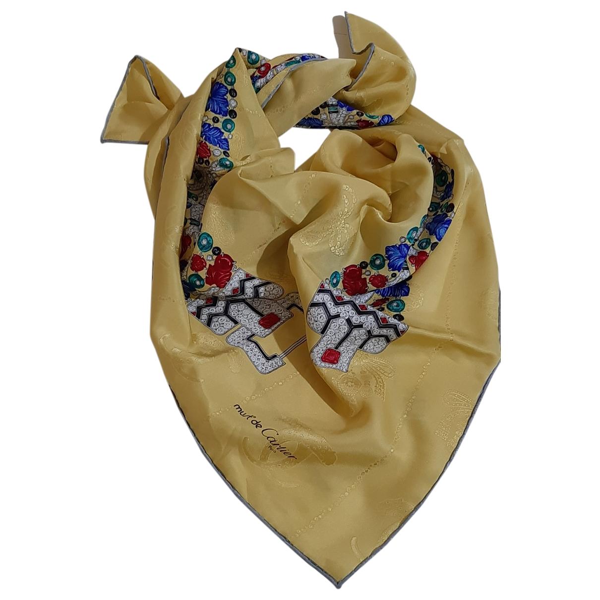 Cartier - Foulard   pour femme en soie - jaune