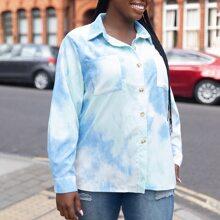 Plus Tie Dye Single Breasted Pocket Front Corduroy Jacket