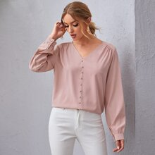 Button Front Lantern Sleeve Solid Top