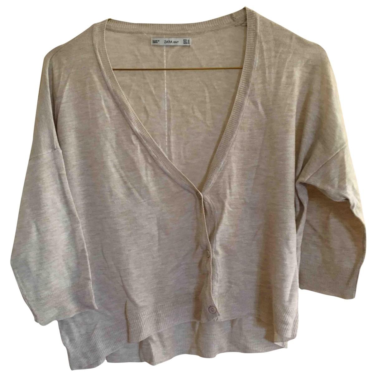 Zara - Pull   pour femme en coton - beige