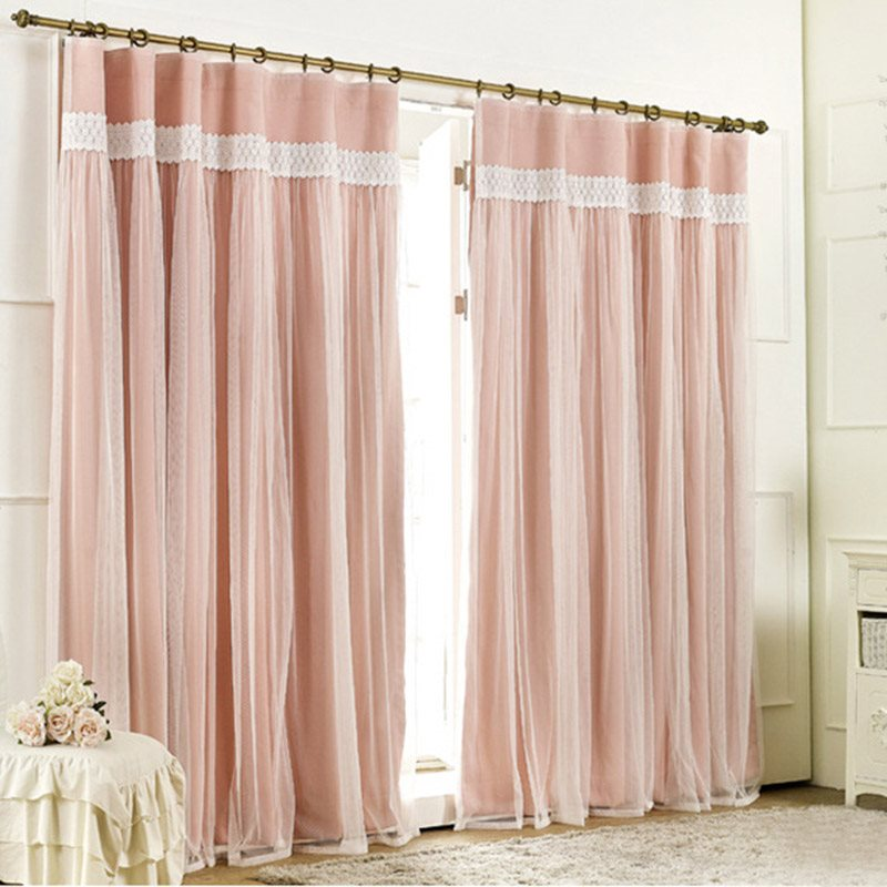 Fantasy Pure Color Lace Sheer and Blackout Cloth Sewing Together Double Pinch Pleat Curtain