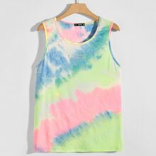 Guys Patched Detail Tie Dye Tank Top
