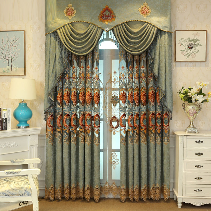 Elegant European Plant Embroidery Decoration Sheer Curtains Custom 2 Panels Breathable Voile Drapes for Living Room No Pilling No Fading No off-lining