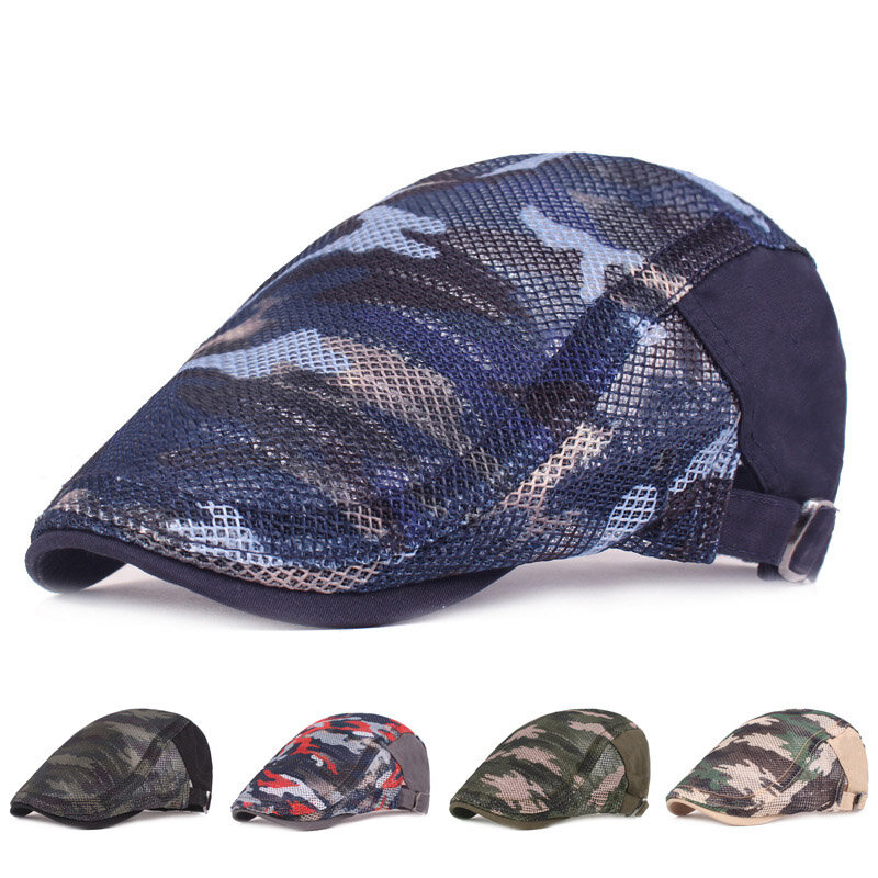 Women's Men's Mesh Beret Cap Camouflage Creathable Mesh Cap