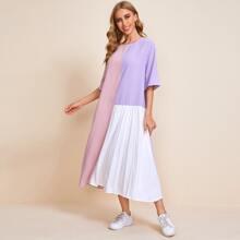 Kleid mit Farbblock und Falten Detail