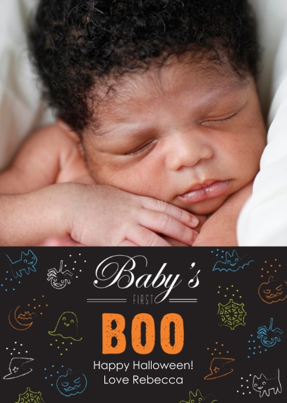 Halloween Photo Cards 5x7 Cards, Premium Cardstock 120lb with Rounded Corners, Card & Stationery -First Boo