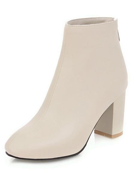 Milanoo Brown Ankle Boots Women Booties Square Toe High Heel Booties