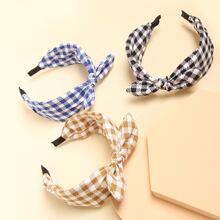 3pcs Plaid Bow Decor Hair Hoop