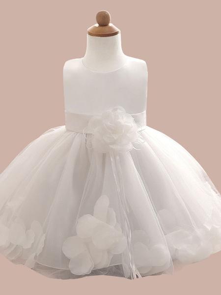 Milanoo Flower Girl Dresses Flowers Sleeveless Jewel Neck Social Kids Party Dresses