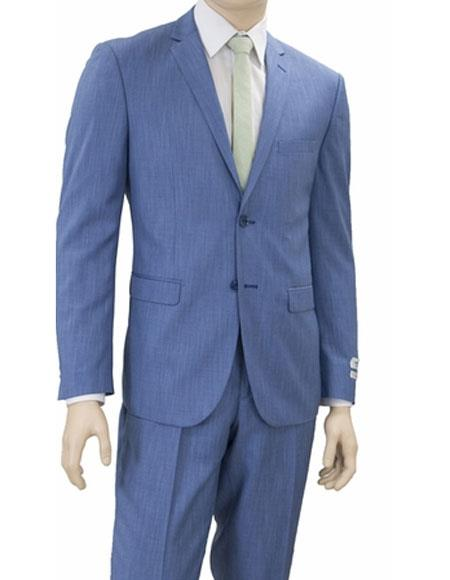 Men's Lorenzo Bruno 2 Buttons Slim Fit Denim Blue Notch Lapel Suit