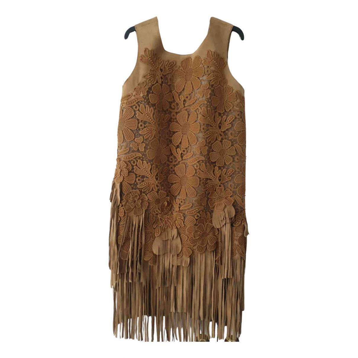Alberta Ferretti \N Kleid in  Kamel Leder