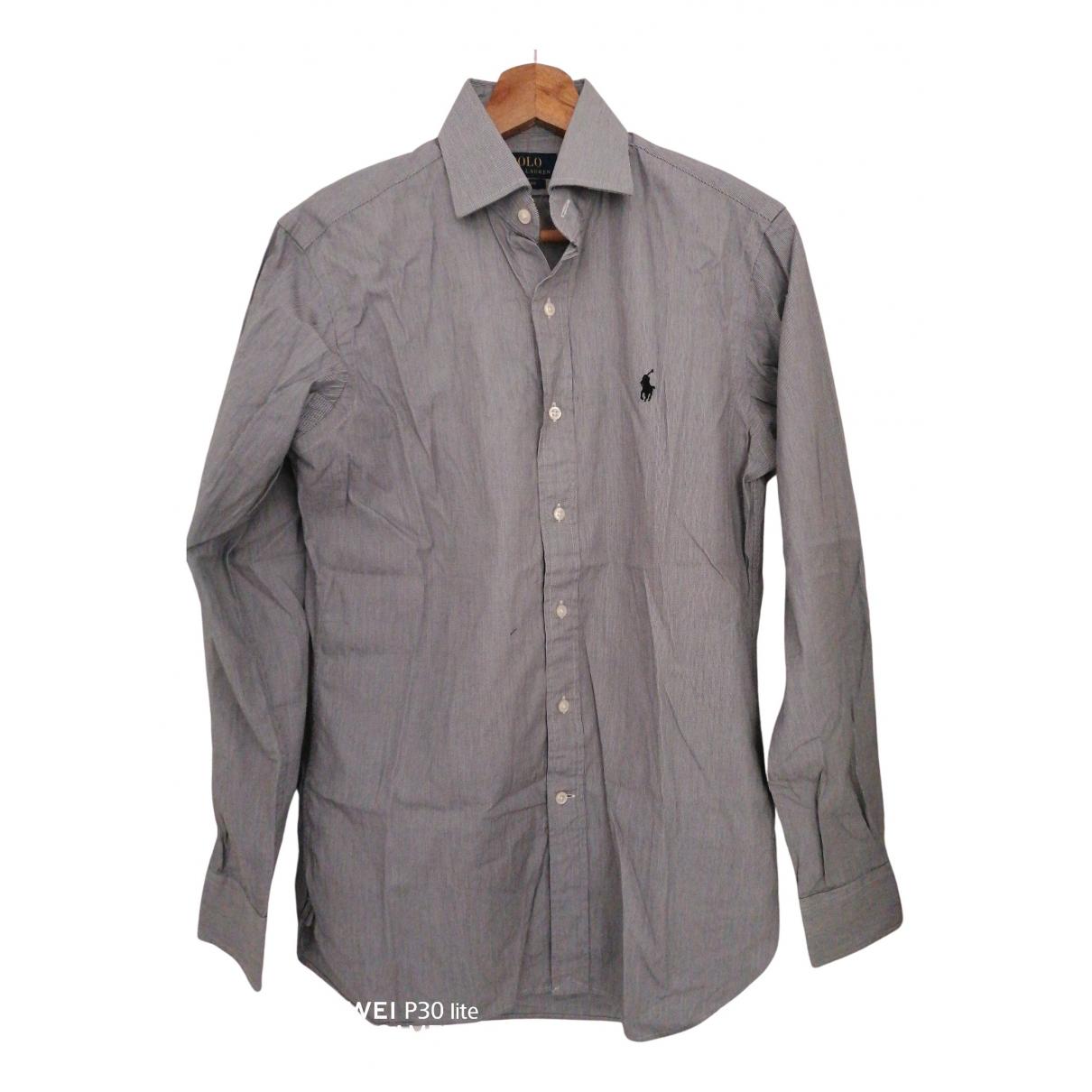 Polo Ralph Lauren Polo cintré manches longues Grey Cotton Shirts for Men M International
