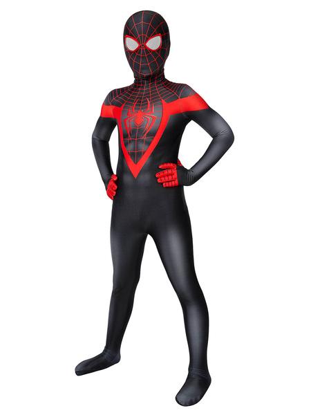 Milanoo Marvel Comics Kids PS5 Marvel 2021 Spider Man Miles Morales Zentai Jumpsuit Cosplay Costume