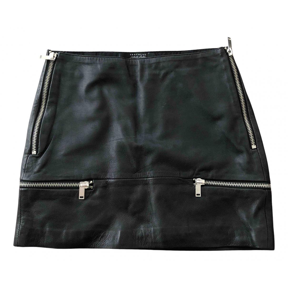 Zara - Jupe   pour femme en cuir - noir