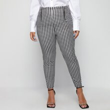 Plus Gingham Zip Detail Skinny Pants