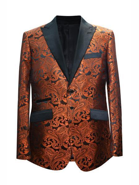 Cheap Mens Printed Flower Jacket Prom modern Rust Coganc Light Brown