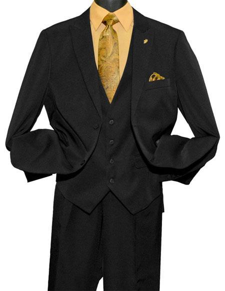 Falcone MenÕs Fashion 2 Button Black Single Breasted Vested Peak Suit