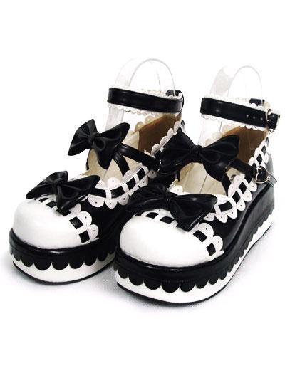 Milanoo Sweet Lolita High Platform Lolita Shoes Bow Decor Ankle Straps with Trim