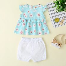Baby Girl Floral Print Smock Blouse With Shorts