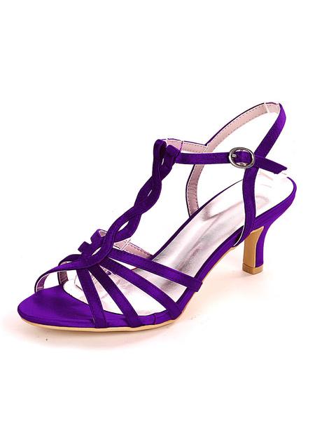 Milanoo Zapatos de novia de marfil Saten Punta abierta Hebilla Kitten Tacon Zapatos de novia
