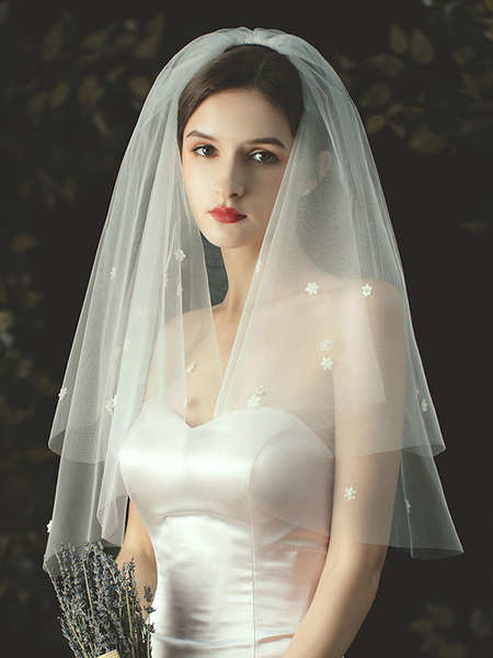 Milanoo Wedding Veil Two-Tier Applique Tulle Cut Edge Classic Bridal Veils