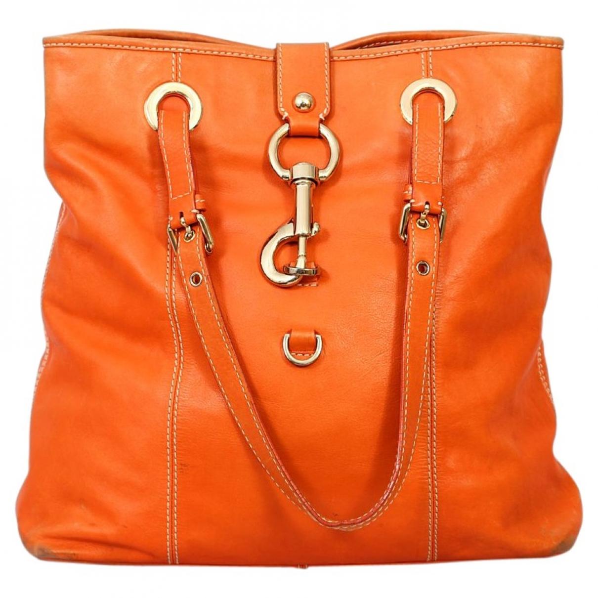 Moschino - Sac a main   pour femme en cuir - orange