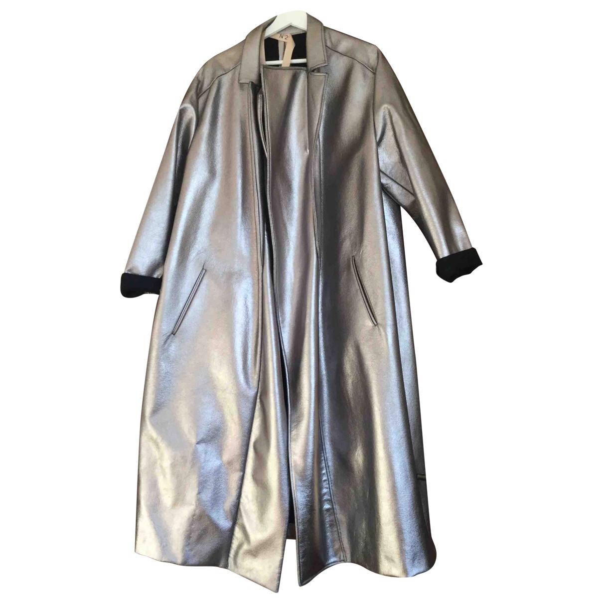 N°21 - Manteau   pour femme en laine - argente