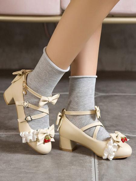Milanoo Zapatos de Lolita dulces Lazos de fresa Cuero de PU Tacon grueso Bombas de Lolita