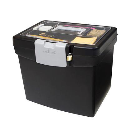 Storex® Boîte de classement portable avec porte-lettres et grand couvercle de rangement, noir