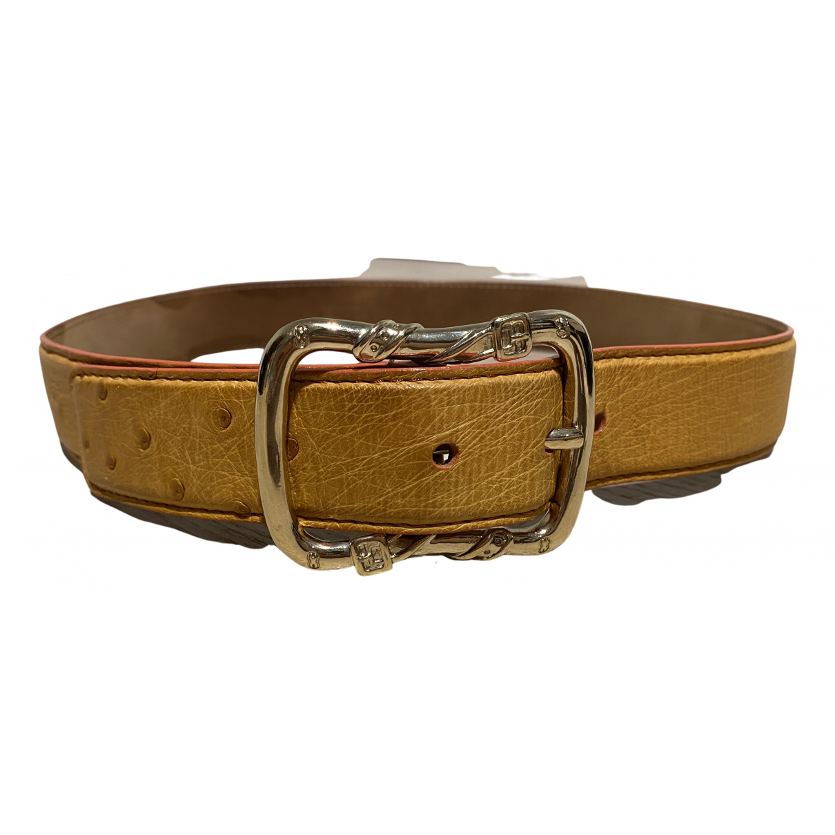 Escada N Brown Ostrich belt for Women 80 cm