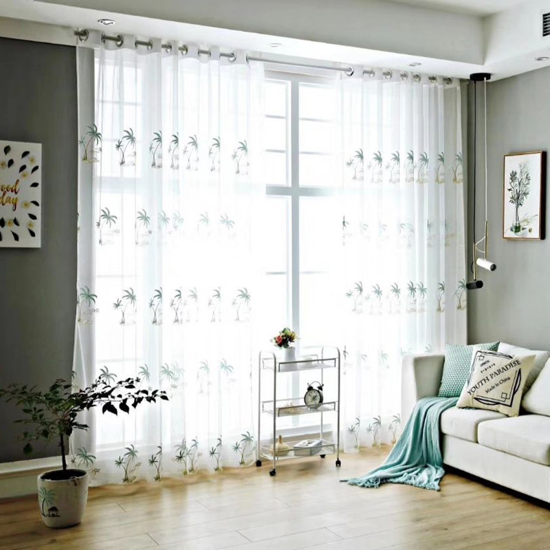 Custom Living Room Bedroom Sheer Curtains Translucidus 30% Shading Rate Never Fading Cracking Peeling or Flaking Sheer Curtain with Coconut Tree Patte