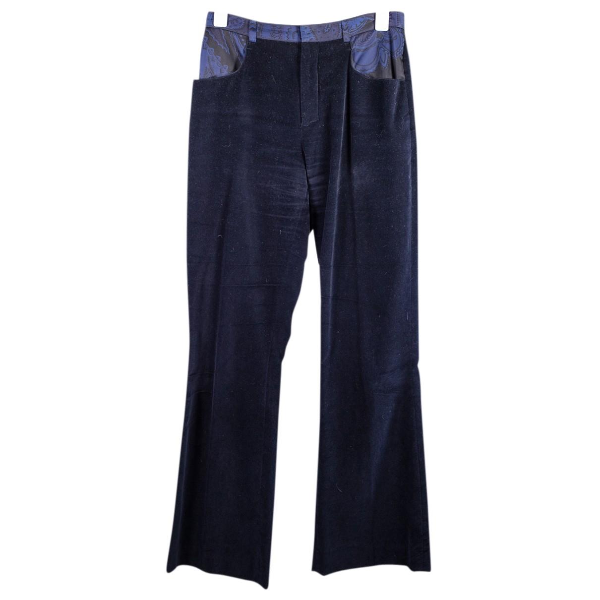 Leonard N Navy Silk Trousers for Women 38 FR