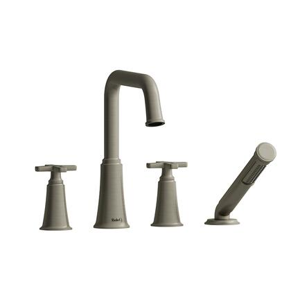 Momenti MMSQ12XBN 4-Piece Deck Mount Tub Filler with x Cross Handles and Hand Shower  in Brushed