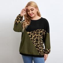 Plus Contrast Leopard Panel Sweatshirt