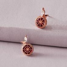 1pair Gemstone Decor Stud Earrings