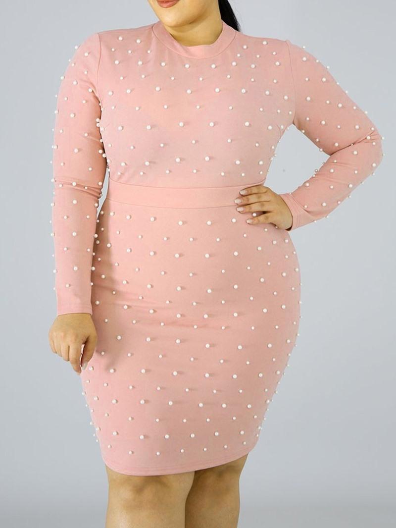 Ericdress Bead Round Neck Knee-Length Pencil Plus Size Dress
