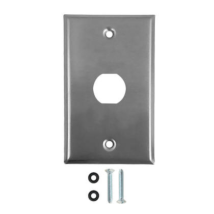 Single Gang Wall Plate - 1x Ethernet Bulkhead Hole - IP44 Rated - Stainless Steel