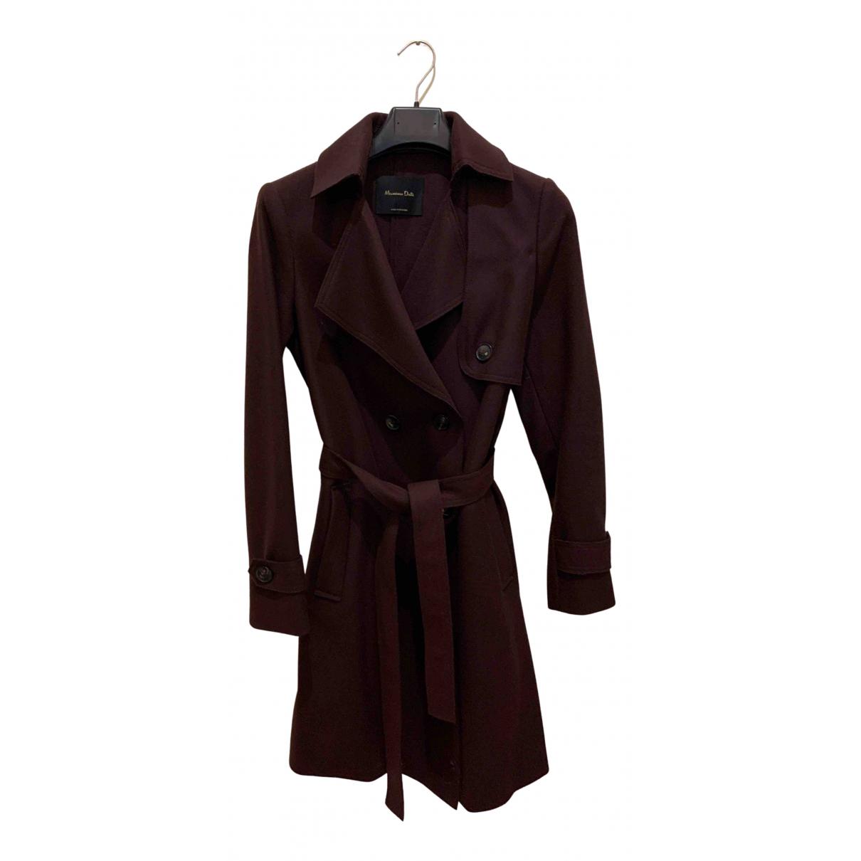 Massimo Dutti - Manteau   pour femme en laine - bordeaux