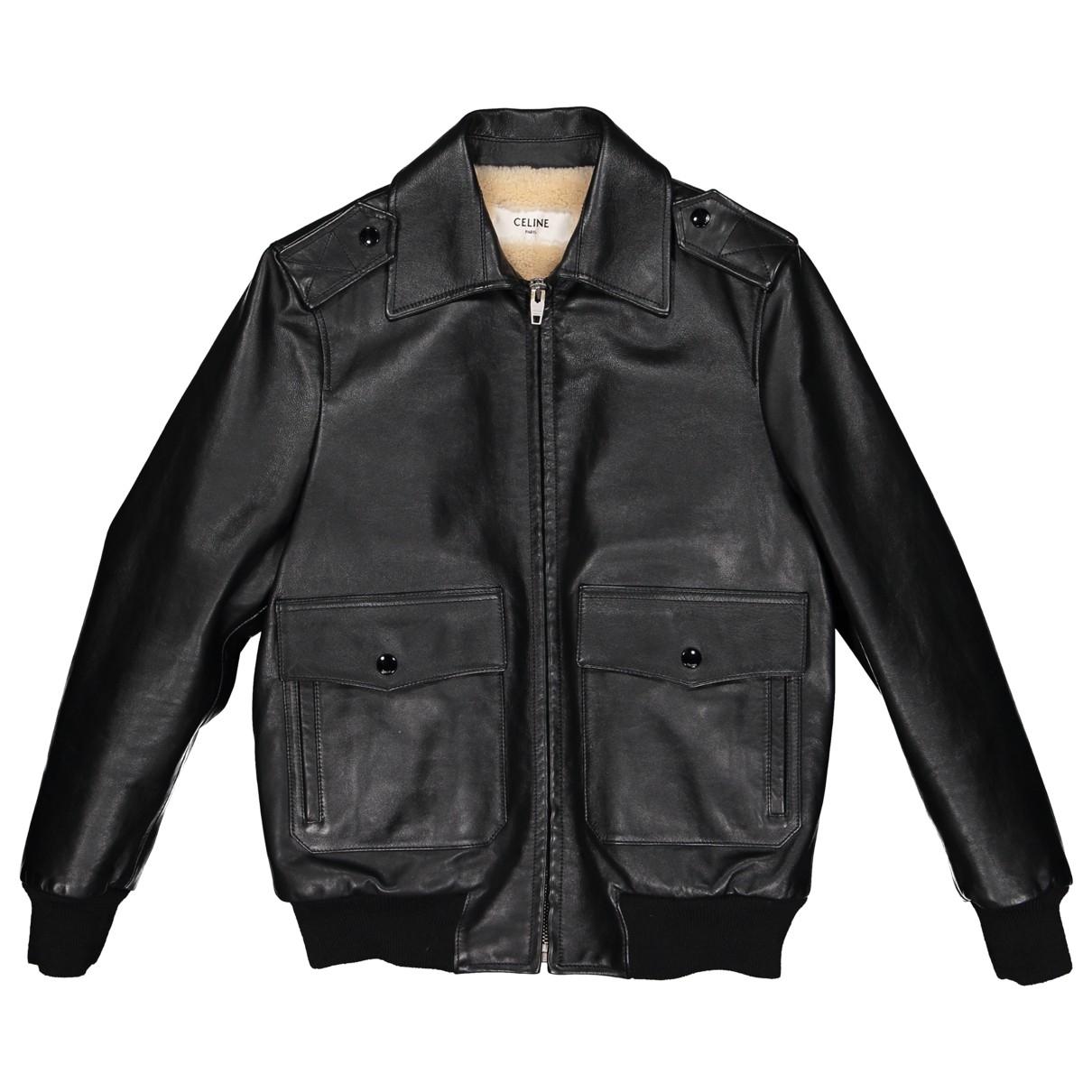 Celine \N Black Leather Leather jacket for Women 34 FR