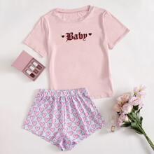 Pajama Set mit Buchstaben und Herzen Muster