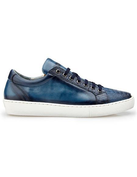 Mens Blue Lace Up Ostrich Shoe