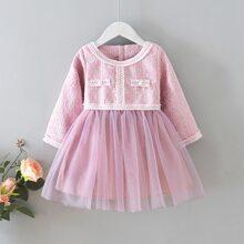 Tweed Kleid mit Kontrast, Netzstoff und Reissverschluss hinten