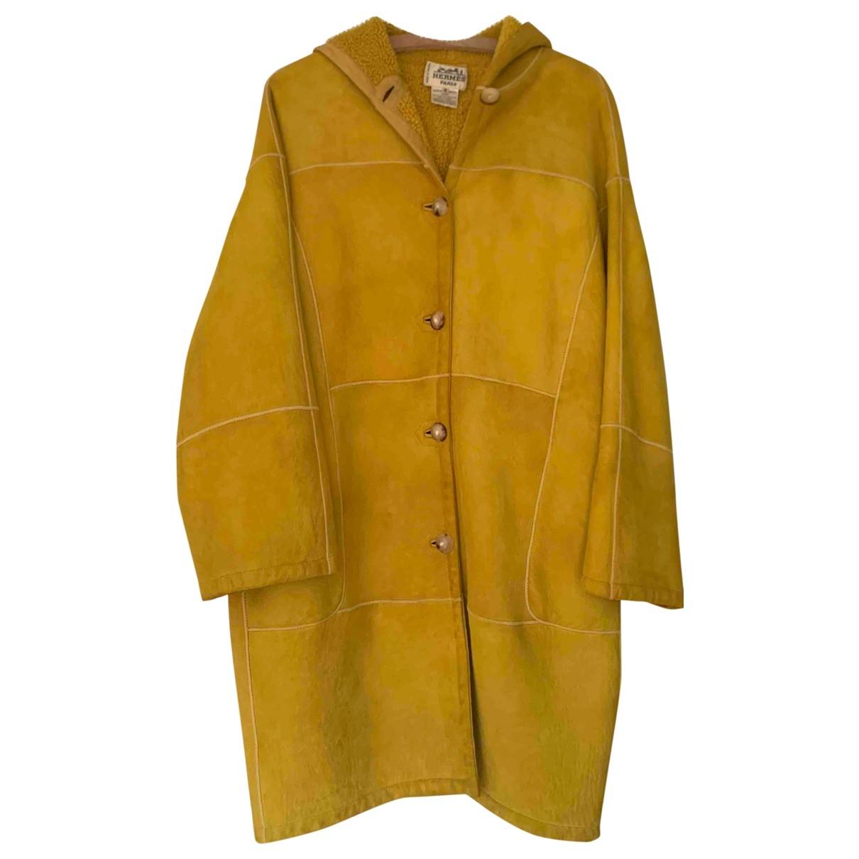 Hermes - Manteau   pour femme en suede - jaune