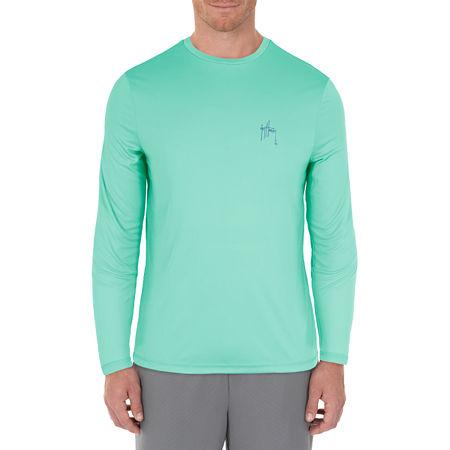Guy Harvey Mens Crew Neck Long Sleeve Moisture Wicking T-Shirt, Medium , Blue