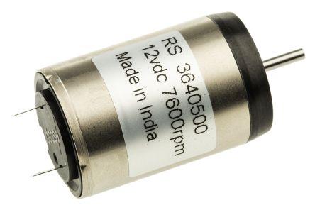 Portescap DC Motor, 4.5 W, 12 V dc, 8.48 mNm, 7600 rpm, 2mm Shaft Diameter
