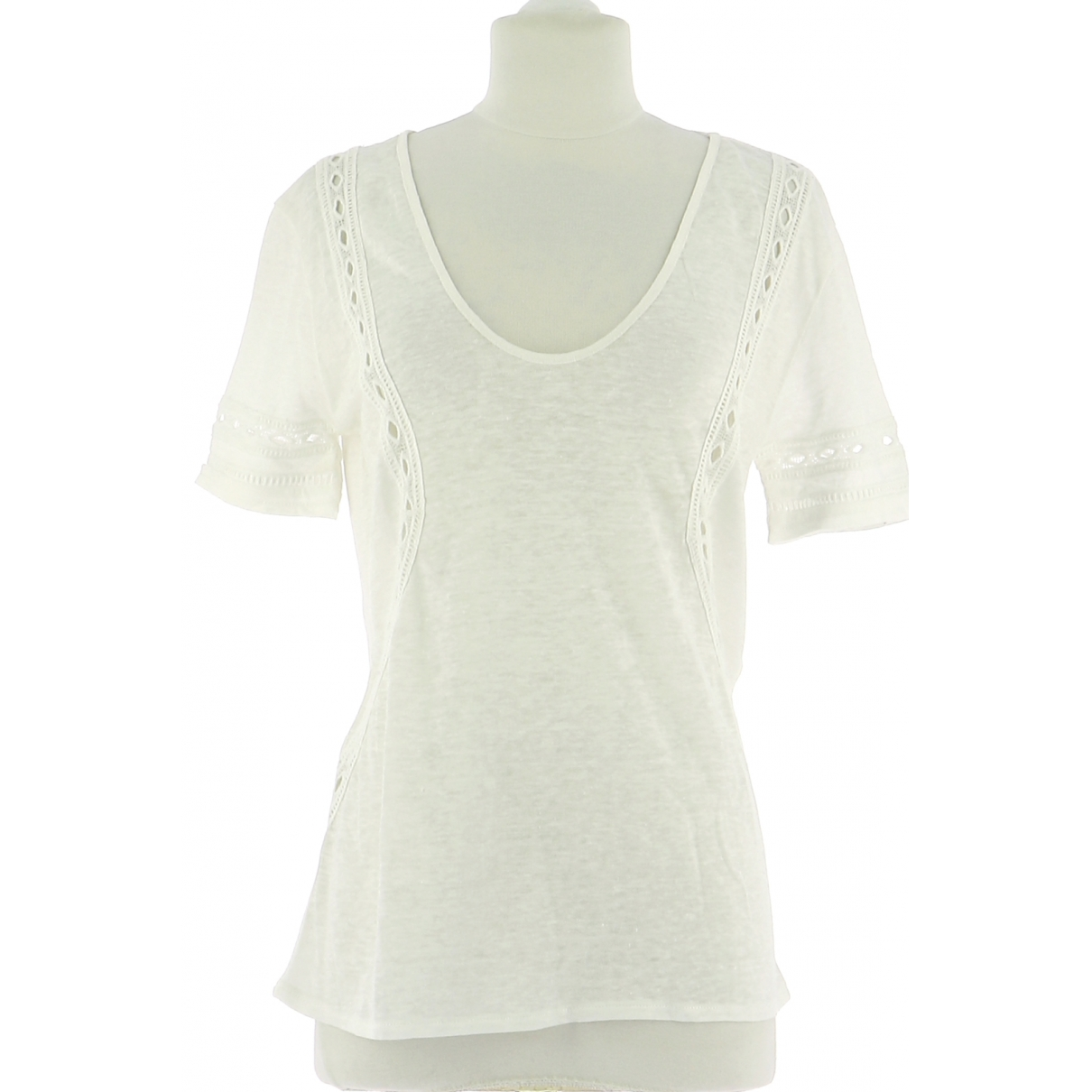 Ikks \N White Linen  top for Women 36 FR