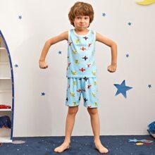 Toddler Boys Aircraft Print Tank Top & Shorts PJ Set