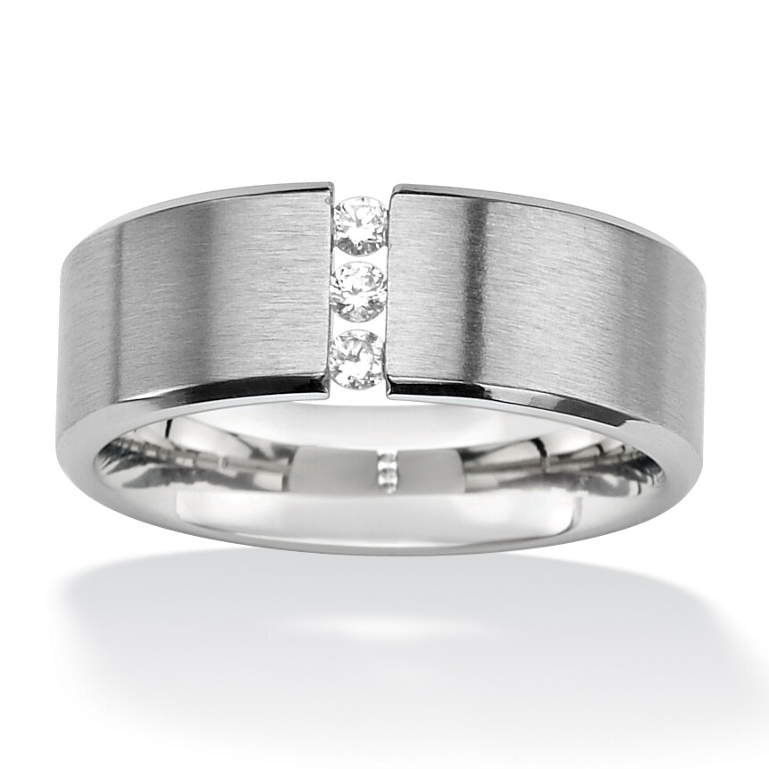 .18 TCW Round Cubic Zirconia Brushed Stainless Steel Wedding Band Sizes 7-16 Classic CZ (13)