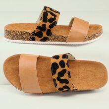 Leopard Double Band Open Toe Cork Sole Sandals